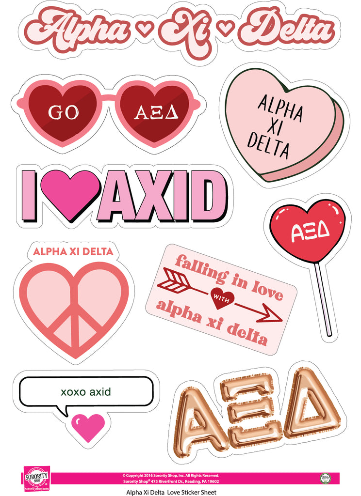 Alpha Xi Delta- Sticker Sheet- Love Theme
