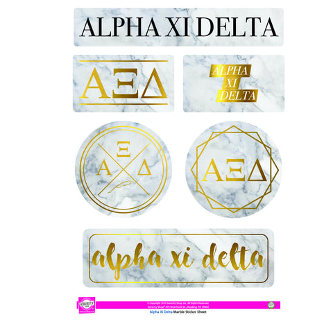 Alpha Xi Delta Marble Sticker Sheet