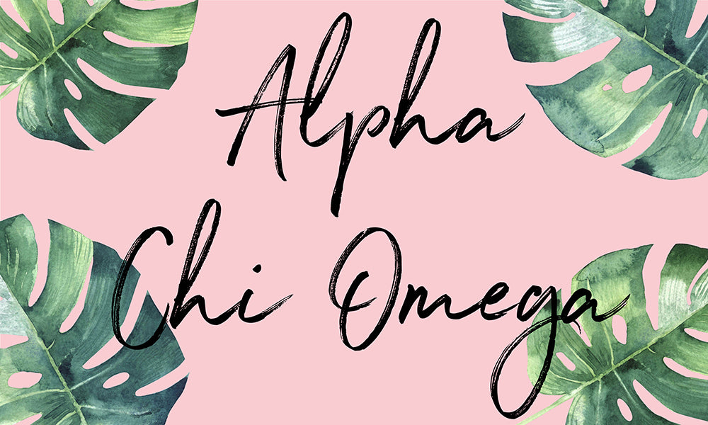 Alpha Chi Omega Tropical Leaf Flag