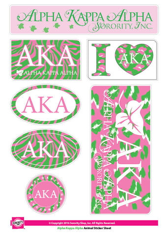 Alpha Kappa Alpha Animal Print Stickers