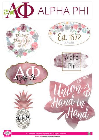 Alpha Phi <br> Water Color stickers