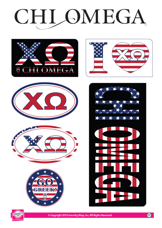 Chi Omega <br> American Stickers