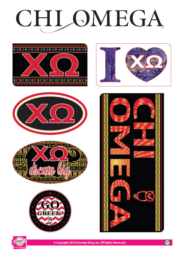 Chi Omega <br> Bohemian Stickers