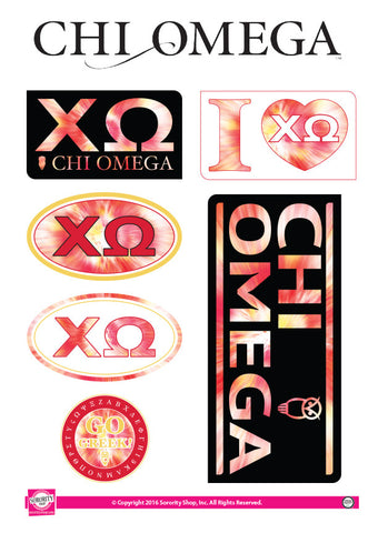 Chi Omega <br> Tie Dye Stickers