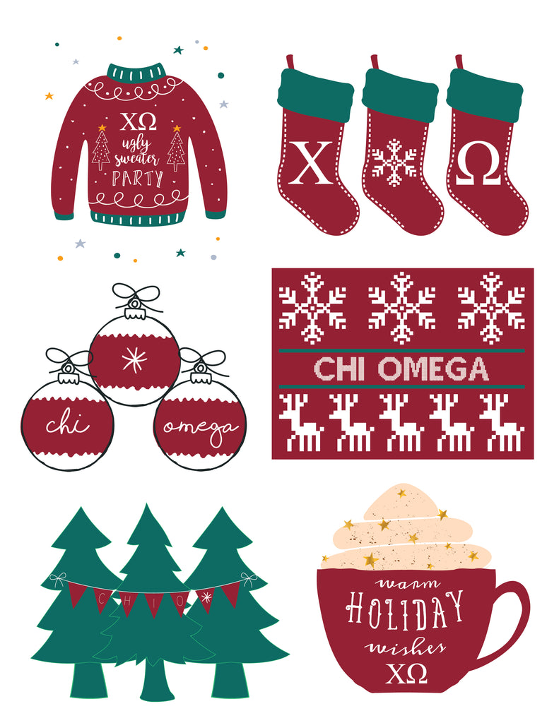 Chi Omega <br> Holiday Sticker Sheet