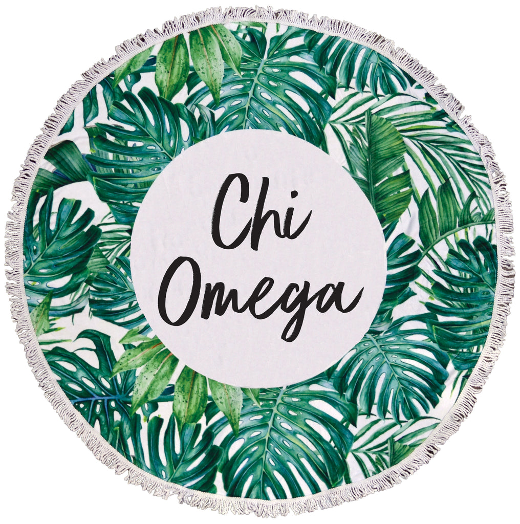 Chi Omega Palm Leaf Fringe Towel Blanket