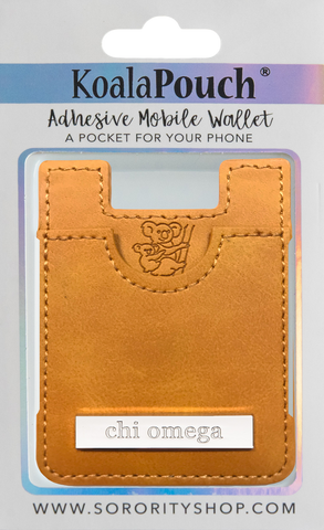 Chi Omega Faux Leather adhesive mobile wallet, koala pouch