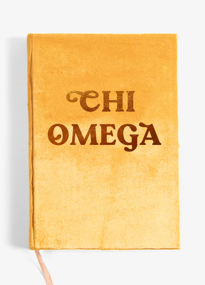 Chi Omega Velvet Notebook with Gold Foil Imprint
