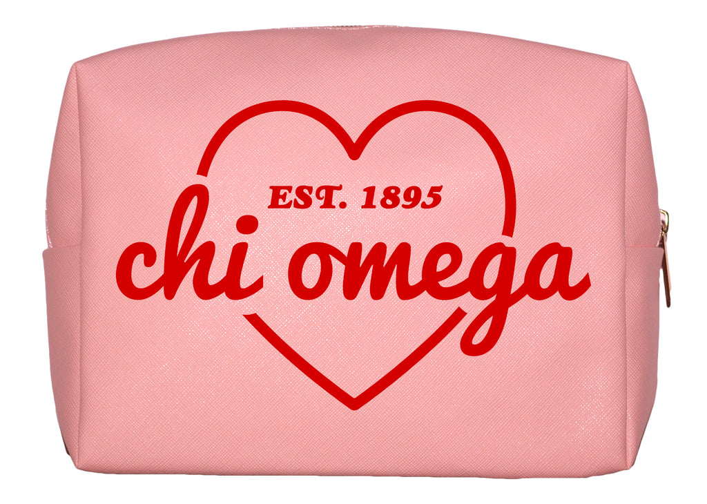 Chi Omega Pink w/Red Heart Makeup Bag