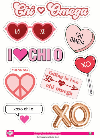 Chi Omega- Sticker Sheet- Love Theme