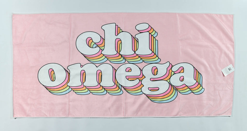 Chi Omega Plush Retro Beach Towel