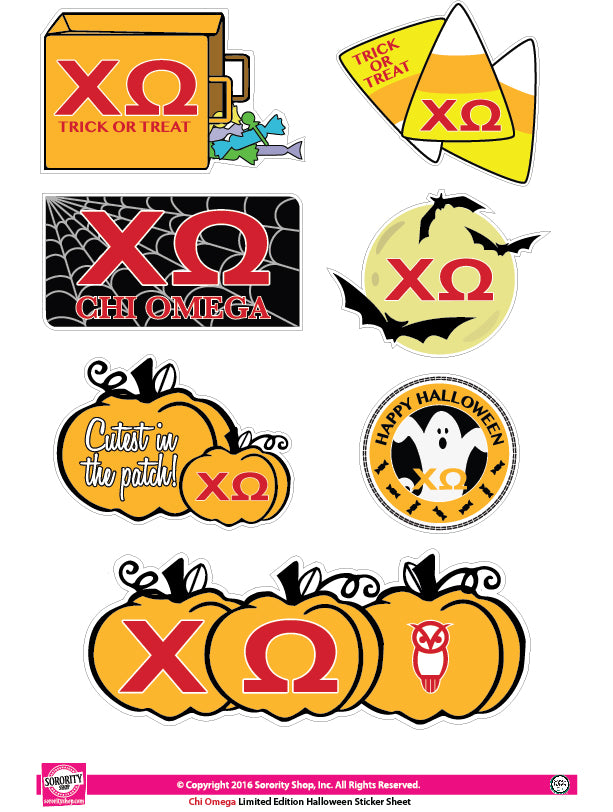Chi Omega <br> Halloween Stickers