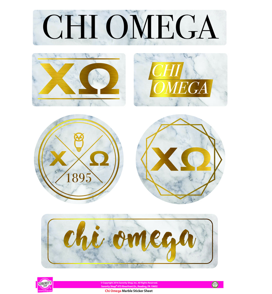 Chi Omega <br> Marble Sticker Sheet