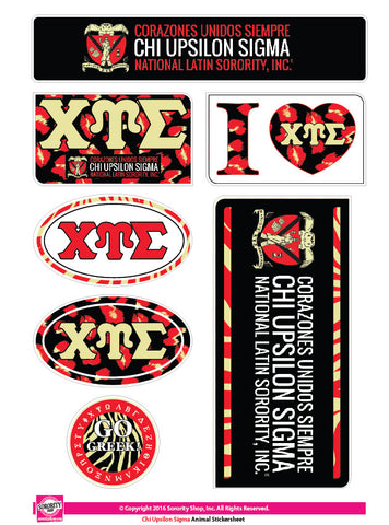 Chi Upsilon Sigma <br>Animal Print Stickers