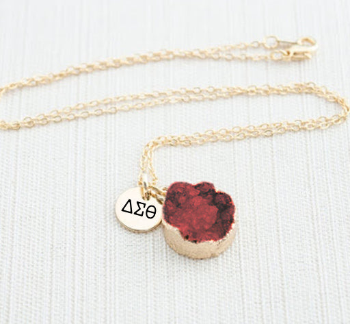 Delta Sigma Theta Sisterhood Druzy Necklace