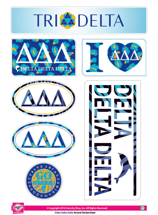 Delta Delta Delta <br> Animal Print Stickers