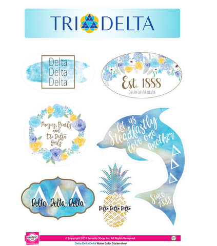Delta Delta Delta <br> Water Color stickers