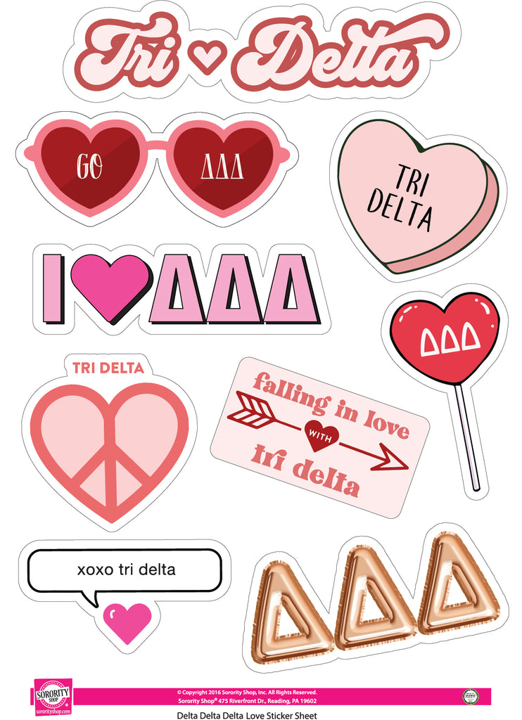 Delta Delta Delta- Sticker Sheet- Love Theme