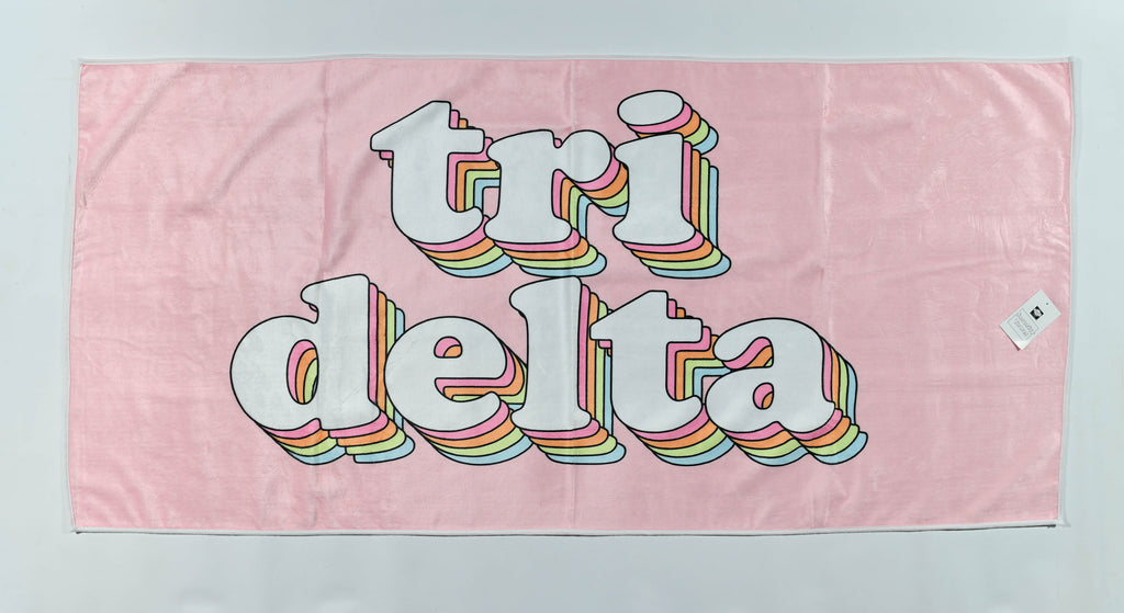 Delta Delta Delta Plush Retro Beach Towel