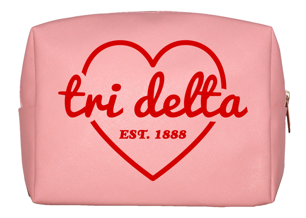 Delta Delta Delta Pink w/Red Heart Makeup Bag