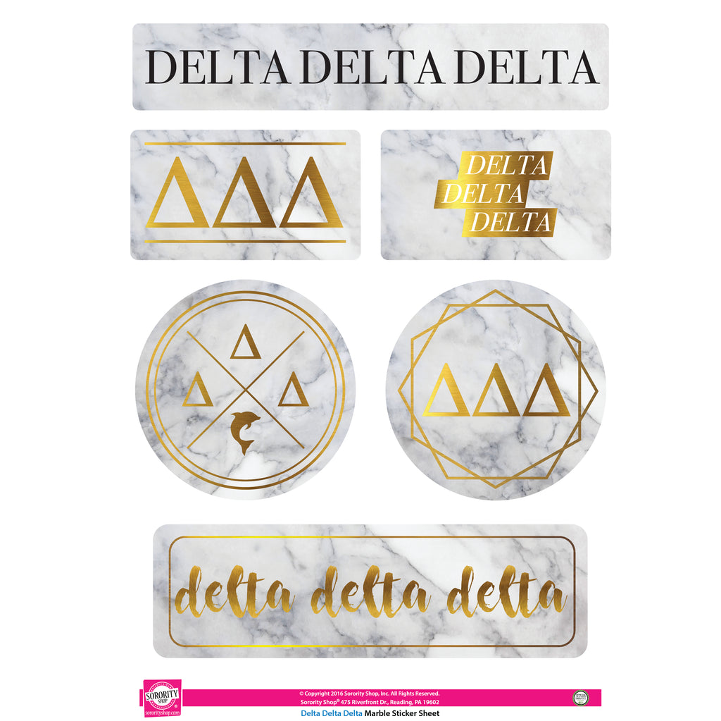 Delta Delta Delta <br> Marble Sticker Sheet