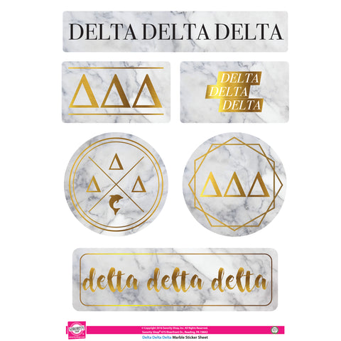 Delta Delta Delta Marble Sticker Sheet