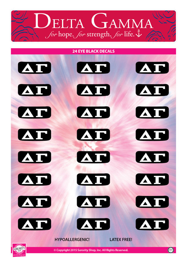 Delta Gamma  <br> Eye Black Decals. <br> 24 Per sheet.