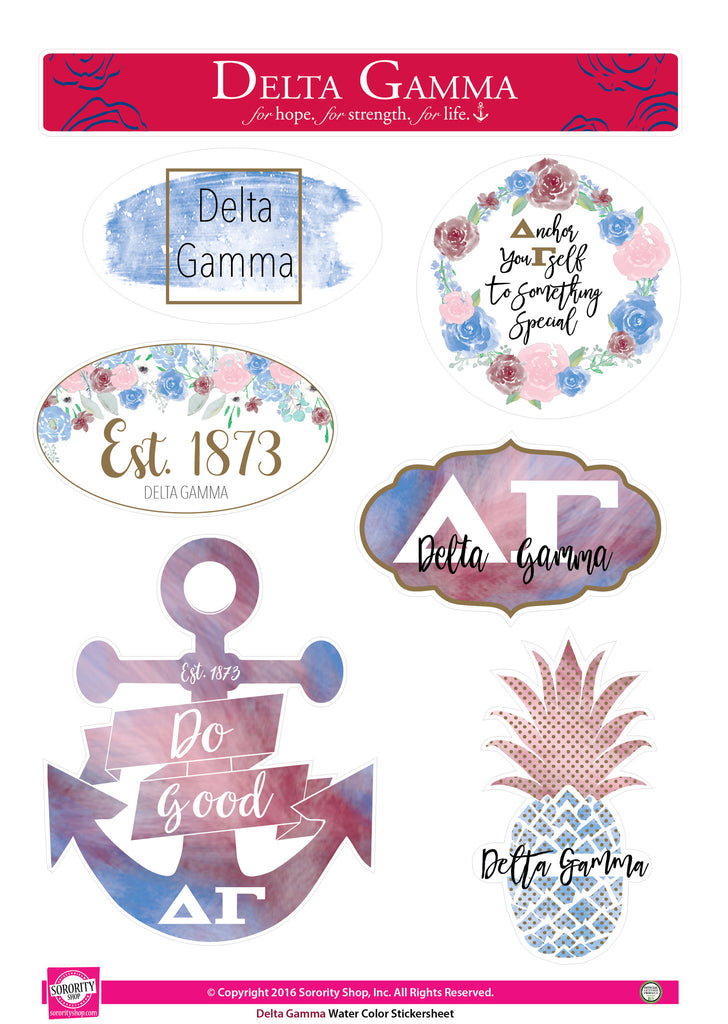 Delta Gamma <br> Water Color stickers