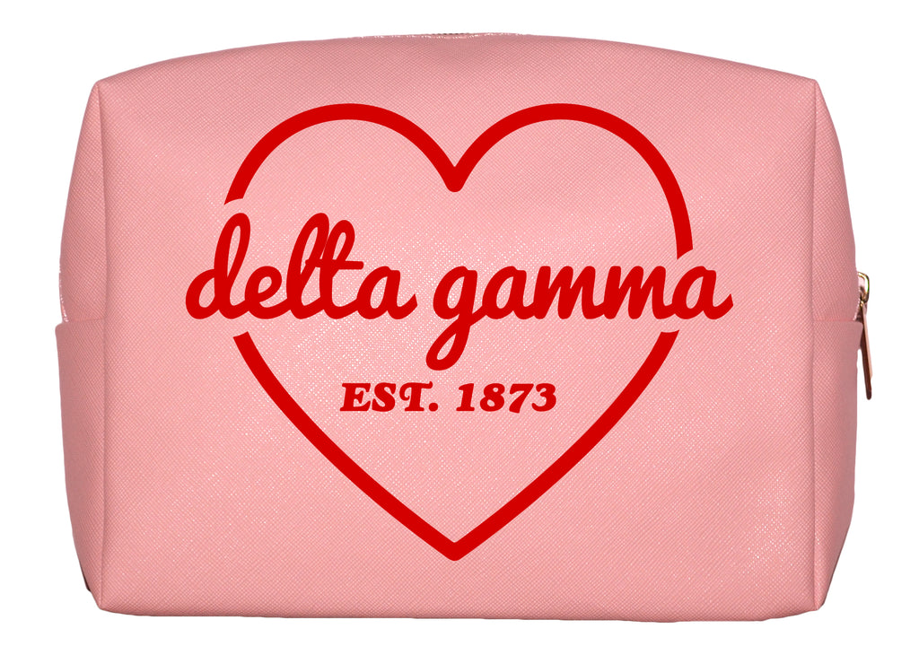 Delta Gamma Pink w/Red Heart Makeup Bag