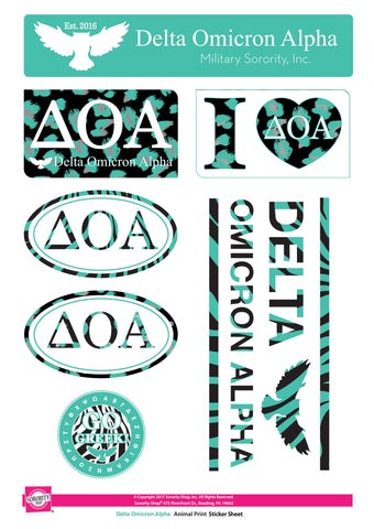 Delta Omicron Alpha <br>Animal Print Stickers