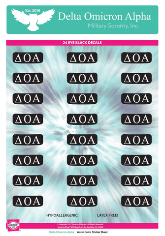Delta Omicron Alpha <br> Eye Black Decals. <br> 24 Per sheet.