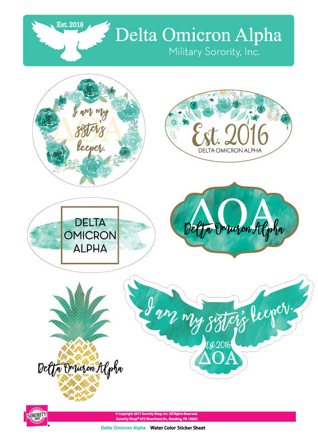 Delta Omicron Alpha <br> Water Color stickers