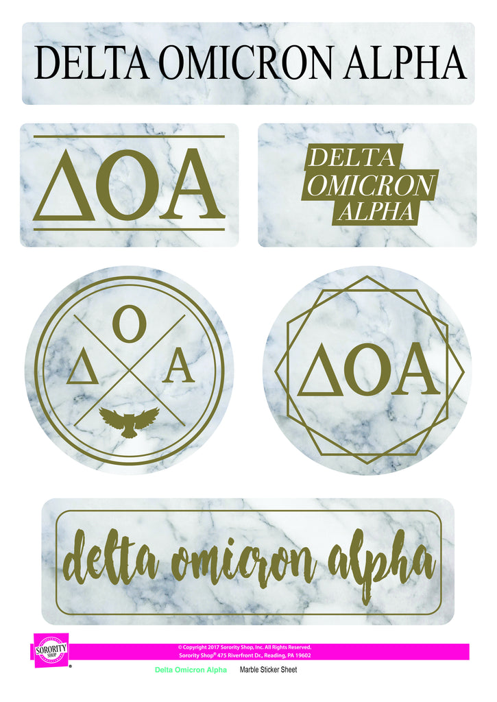 Delta Omicron Alpha Marble Sticker Sheet