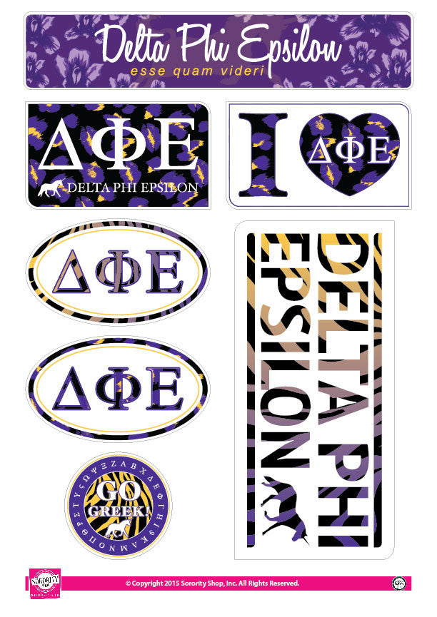 Delta Phi Epsilon <br> Animal Print Stickers