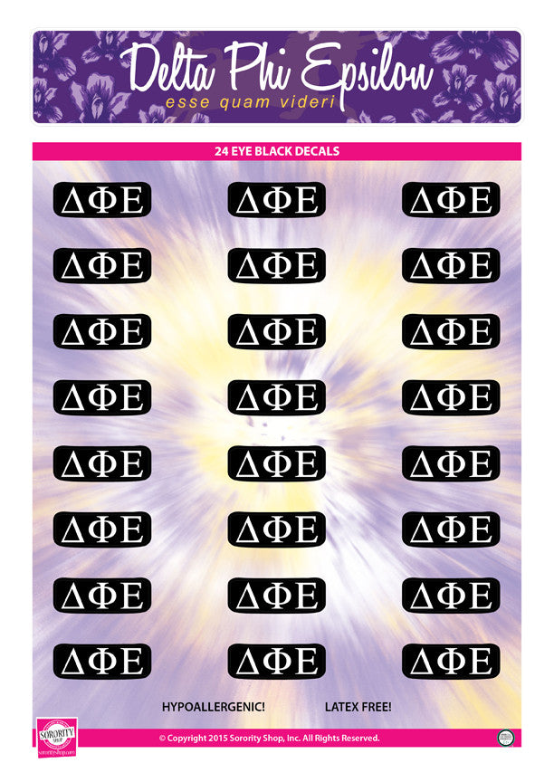 Delta Phi Epsilon Eye Black Decals