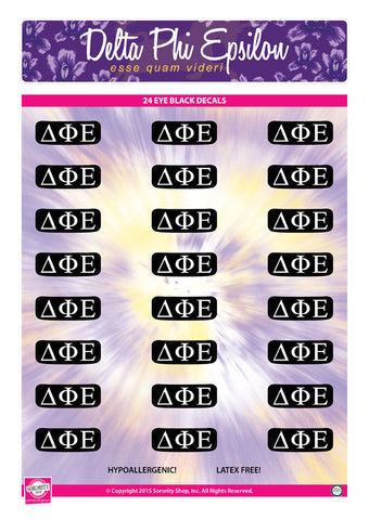 Delta Phi Epsilon <br> Eye Black Decals. <br> 24 Per sheet.
