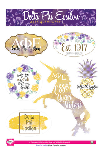 Delta Phi Epsilon <br> Water Color stickers