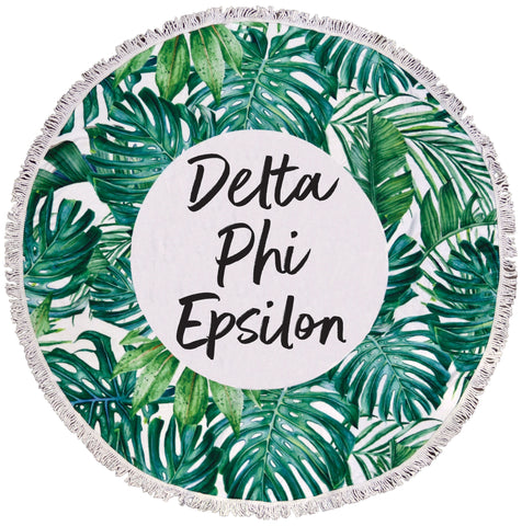 Delta Phi Epsilon Palm Leaf Fringe Towel Blanket