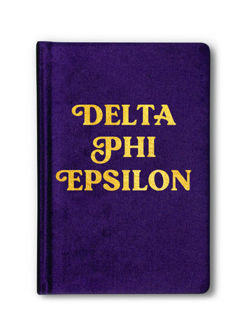 Delta Phi Epsilon Velvet Notebook with Gold Foil Imprint