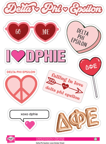 Delta Phi Epsilon- Sticker Sheet- Love Theme