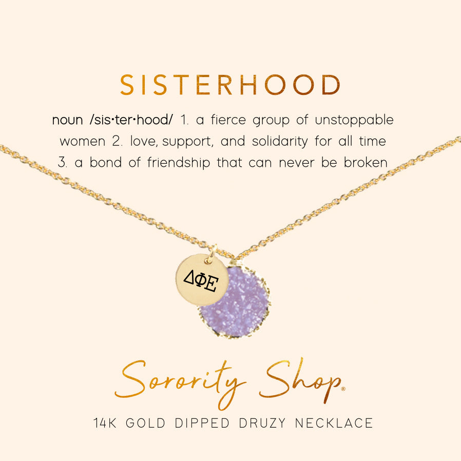 Delta Phi Epsilon Sisterhood Druzy Necklace