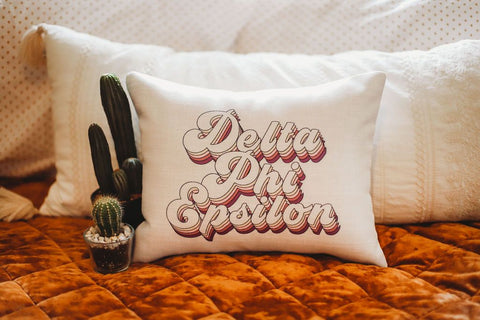 Delta Phi Epsilon Retro Throw Pillow