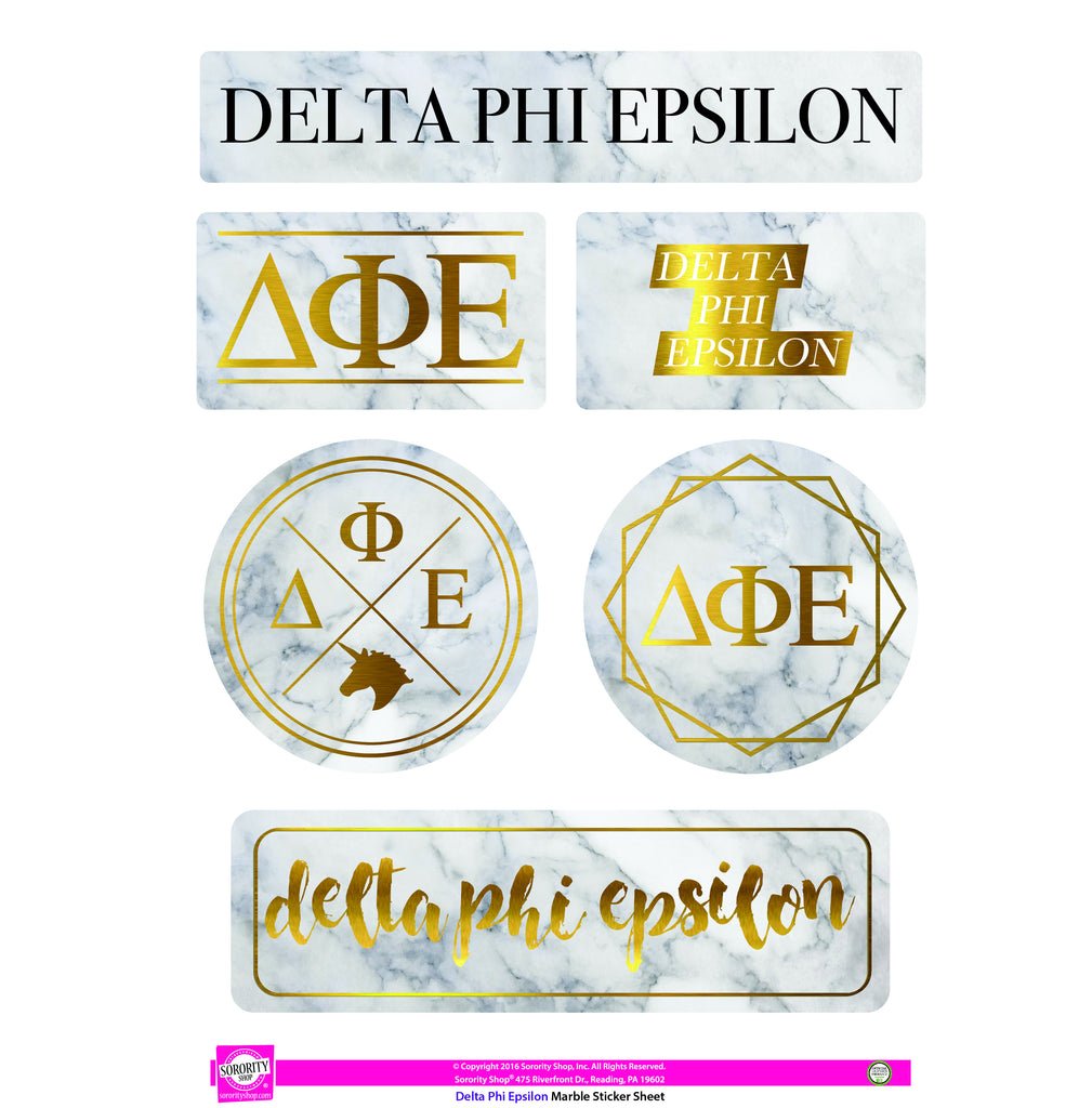 Delta Phi Epsilon Marble Sticker Sheet