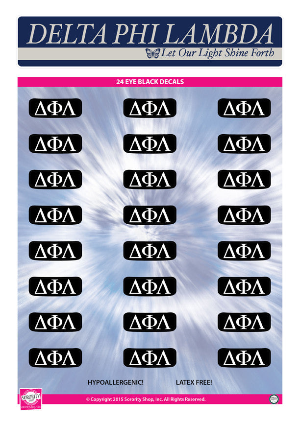 Delta Phi Lambda <br> Eye Black Decals. <br> 24 Per sheet.