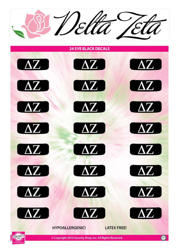 Delta Zeta <br> Eye Black Decals. <br> 24 Per sheet.