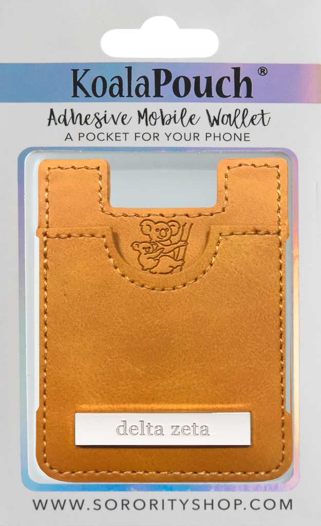 Delta Zeta <br> Leather Style Koala Pouch <br> Adhesive Mobile Wallet <br> (Saddle)