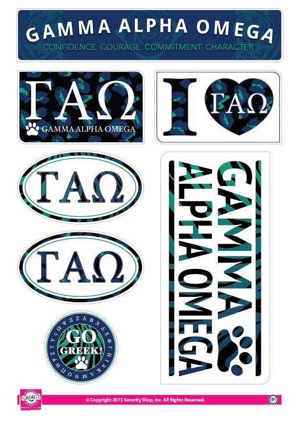 Gamma Alpha Omega <br> Animal Print Stickers