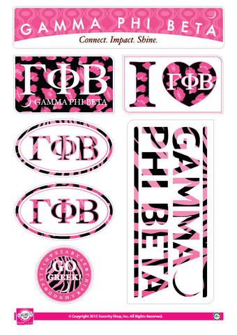 Gamma Phi Beta <br> Animal Print Stickers