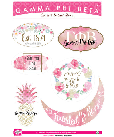 Gamma Phi Beta <br> Water Color stickers
