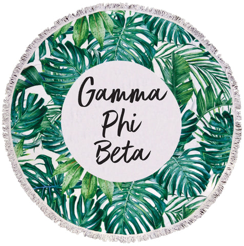 Gamma Phi Beta Palm Leaf Fringe Towel Blanket
